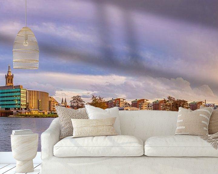 Sfeerimpressie behang: Skyline Roermond in de namiddagzon I van Teun Ruijters
