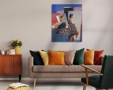 Collage von Damen in blau und rosa von Nop Briex