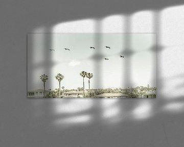 Over de daken van San Diego   Vintage Panorama van Melanie Viola
