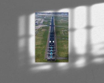 Luchtfoto startbaan Schiphol met vier KLM vliegtuigen van aerovista luchtfotografie