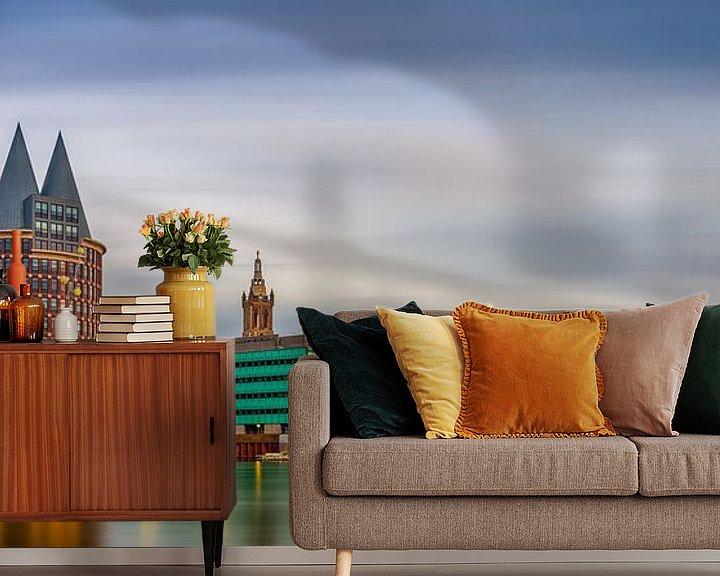 Sfeerimpressie behang: Skyline Roermond, lange belichting zonsondergang van Teun Ruijters