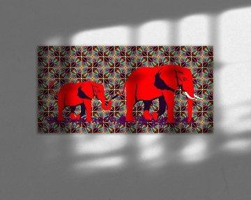 Afrikaanse olifant duo van Lida Bruinen