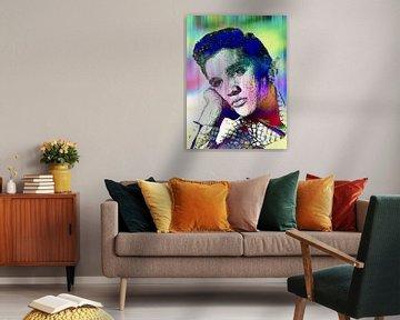 Elvis Presley Abstrakte Strichzeichnung Portrait in Rosa Blau Grün von Art By Dominic