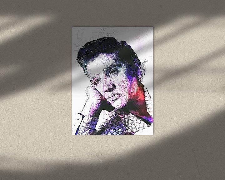 Beispiel: Elvis Presley Abstrakte Strichzeichnung Portrait in Lila Rot von Art By Dominic