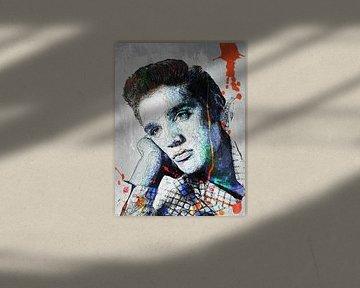Elvis Presley Abstrakte Strichzeichnung Portrait in Blau Orange von Art By Dominic