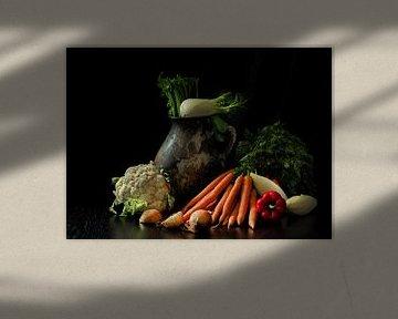 Nature morte avec vase et légumes sur Jan van der Linden