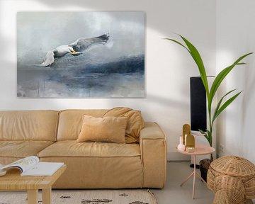Meeuw In Water Abstract Aquarel Schilderij van Diana van Tankeren