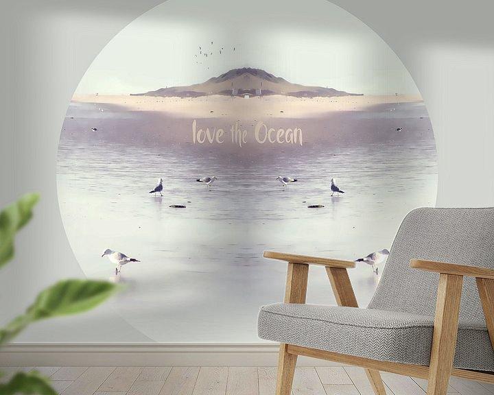 Sfeerimpressie behang: LOVE the OCEAN IV-R van Pia Schneider
