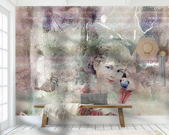 Beispiel fototapete: Mädchen mit Korb und Vögeln, vintage von Rietje Bulthuis