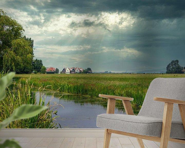 Sfeerimpressie behang: Donkere wolken boven Noord-Holland van Visueelconcept