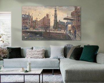 Arnold Olderhave - Het Muntplein in 1953 met recht de Duiventil. van Dolf van den Bos