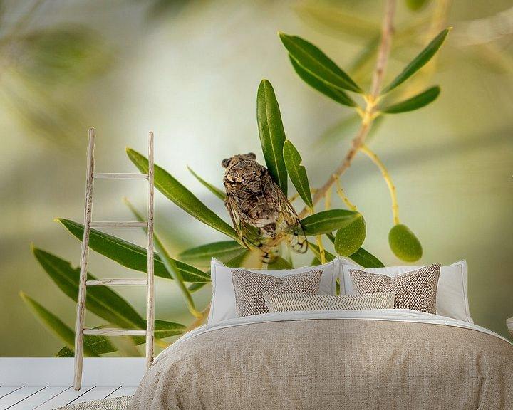 Sfeerimpressie behang: Cicade in een olijfboom van Visueelconcept