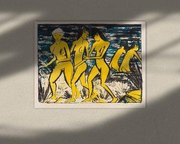 Fünf gelbe Akte am Wasser, OTTO MUELLER, 1921 von Atelier Liesjes