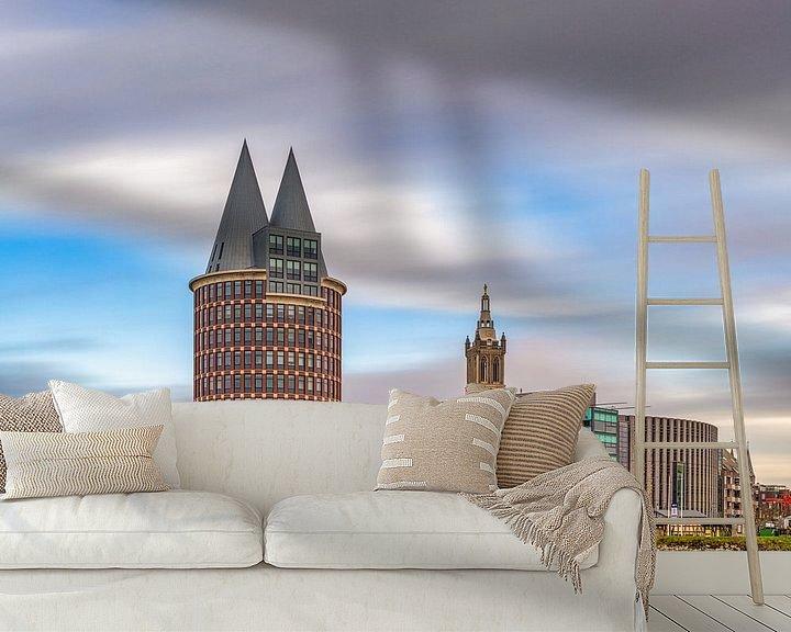 Sfeerimpressie behang: Roermond - Skyline - lange sluitertijd van Teun Ruijters