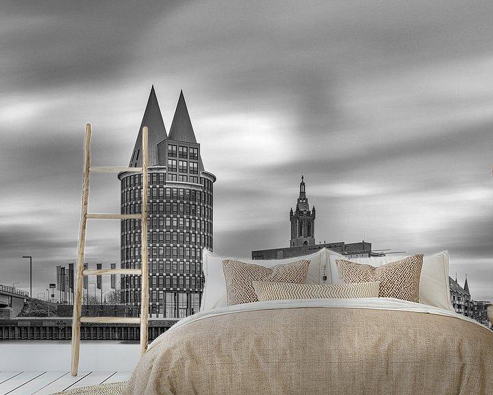 Sfeerimpressie behang: Roermond - Skyline - lange sluitertijd - zwartwit van Teun Ruijters