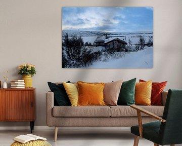 Huisje in de sneeuw van Sander Hekkema