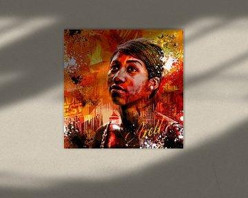Aretha Franklin von Rene Ladenius Digital Art