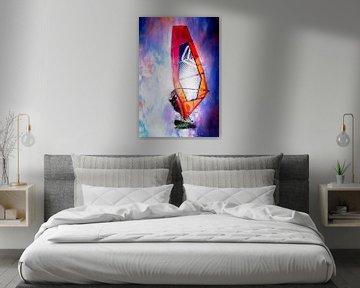 Kleurrijke windsurfer (kunst) van Art by Jeronimo