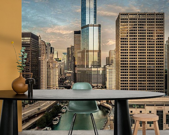 Impression: Good Morning Chicago - Vue sur le fleuve Chicago sur Edwin van Wijk