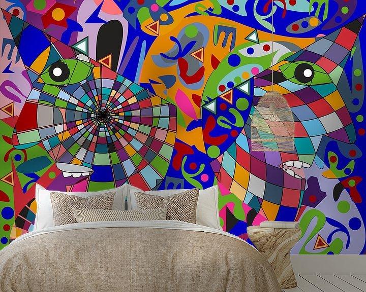 Sfeerimpressie behang: geometrische abstracte kunst van het menselijk gezicht van EL QOCH