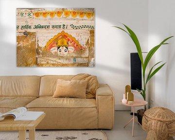 Wand bemalt mit Bild von Ganesha | Reisefotografie Indien von Teun Janssen