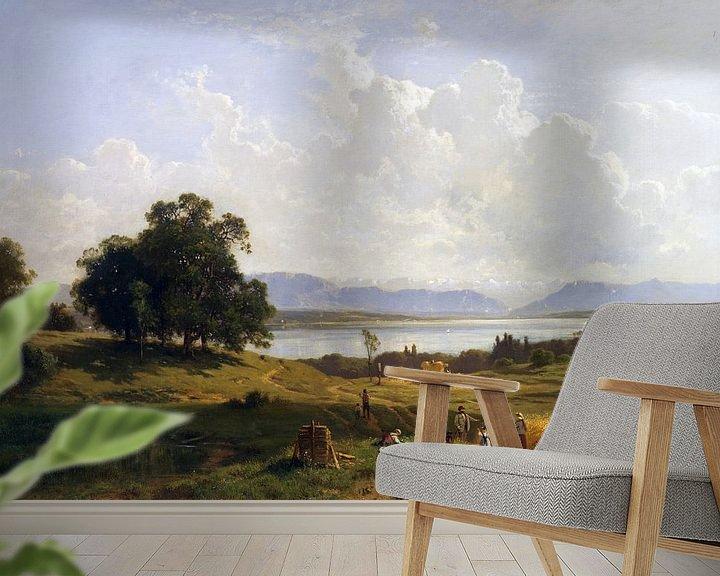 Beispiel fototapete: Starnberger See von Pöcking aus gesehen, ADOLF HEINRICH LIER, 1856-1863 von Atelier Liesjes