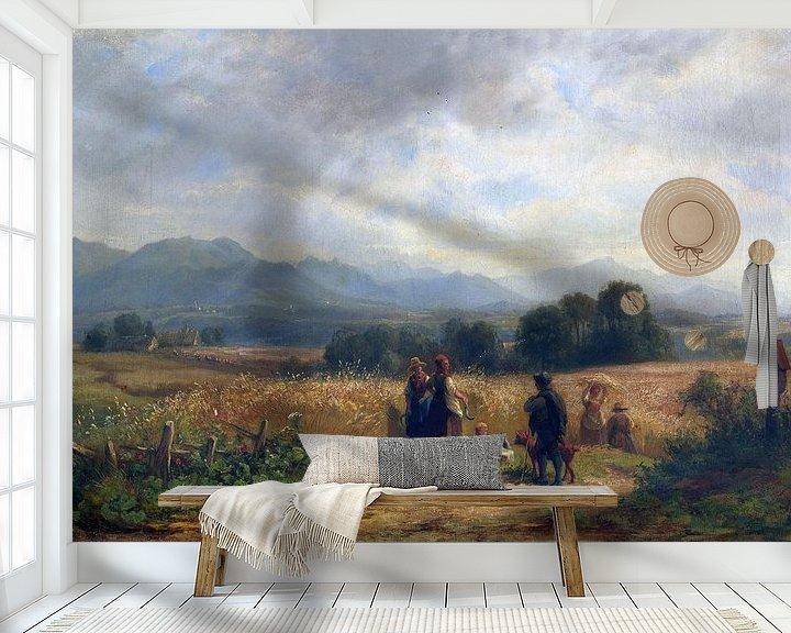 Beispiel fototapete: Oberbayern bei Habach, Erntetag, ADOLF HEINRICH LIER, Um 1860 von Atelier Liesjes