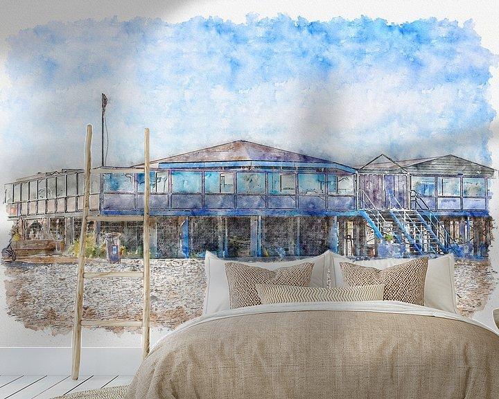 Beispiel fototapete: Strandpavillon C-Seite in Ouddorp (Aquarell) von Art by Jeronimo