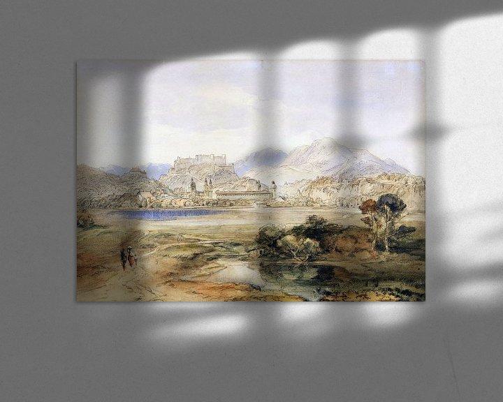Beispiel: Salzburg mit der Festung Hohensalzburg und dem Kapuzinerkloster, Ca. 1820-1850 von Atelier Liesjes