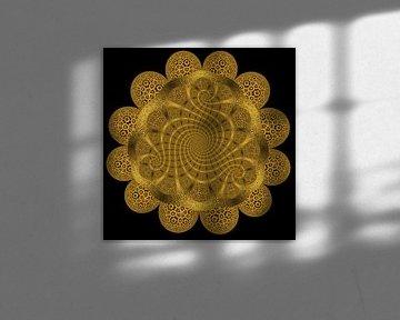 Trio Spiraal van Zonnebloemen II van Tis Veugen