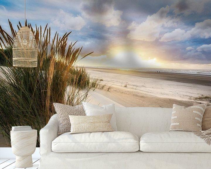 Beispiel fototapete: Sonnenuntergang auf Ameland in der Nähe des Strandes von Buren von Arjan Boer