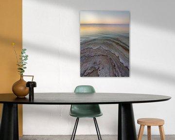 Couleurs pastel au coucher du soleil près de la mer Morte sur Teun Janssen