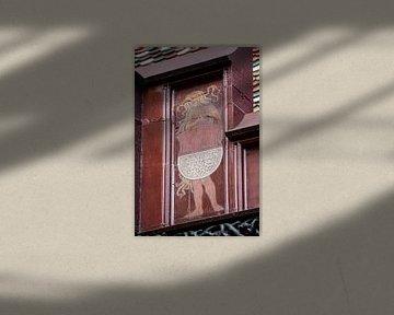 Schild mit junger Frau auf dem Dach des Basler Rathauses in der Schweiz von Joost Adriaanse
