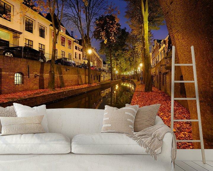 Sfeerimpressie behang: Nieuwegracht in Utrecht tussen de Pausdambrug en de Paulusbrug  van Donker Utrecht
