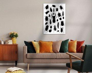 Collage von Käfern in Schwarz und Weiß von Jasper de Ruiter