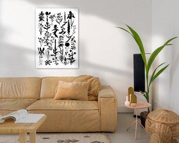 Collage aus Pflanzen in Schwarz und Weiß von Jasper de Ruiter
