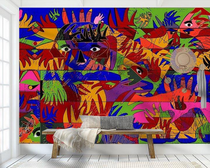 Sfeerimpressie behang: abstracte kunst geometrische vorm van handen en ogen van EL QOCH