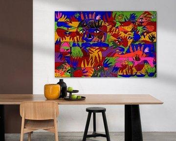 abstracte kunst geometrische vorm van handen en ogen van EL QOCH