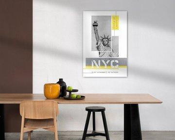 NYC Vrijheidsbeeld | Lichtend Geel & Ultiem Grijs van Melanie Viola