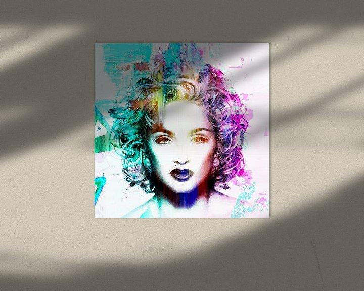 Beispiel: Madonna Vogue Abstrakt Porträt Blau Rosa von Art By Dominic