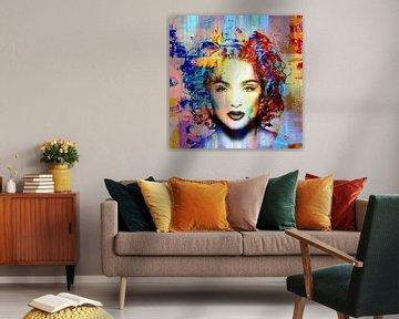 Madonna Vogue Abstrakt Porträt Blau Rot Orange von Art By Dominic