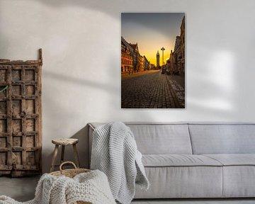Stadt Straubing Stadtplatz im Sonnenuntergang von Thilo Wagner