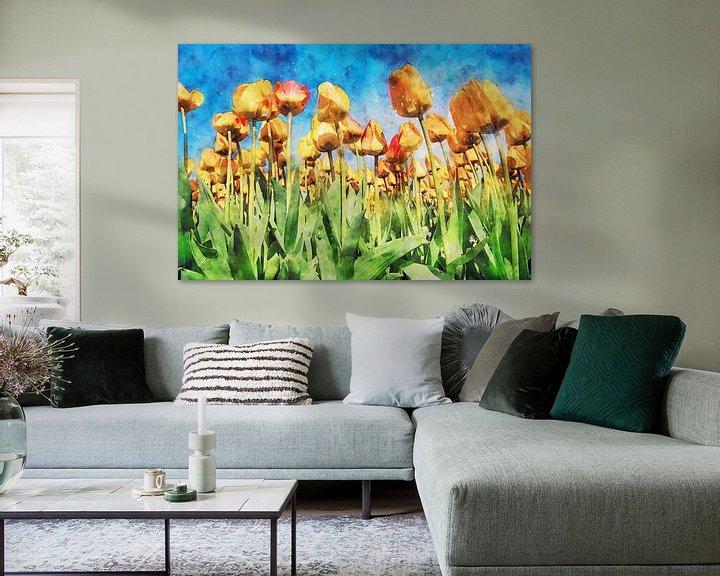 Sfeerimpressie: tulpenbloem onder een blauwe hemel van Digikhmer