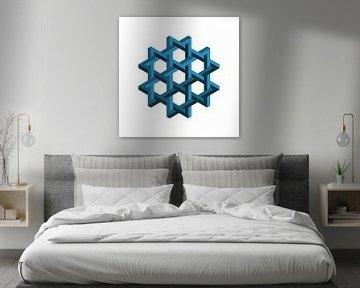 Penrose Sechseck Blau von Leeuwen Werk