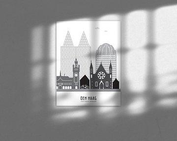 Skyline Illustration Stadt Den Haag schwarz-weiß-grau von Mevrouw Emmer