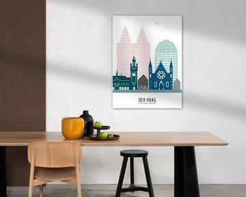 Skyline-Illustration der Stadt Den Haag in Farbe von Mevrouw Emmer