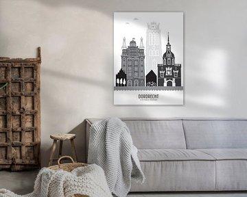 Skyline Illustration Stadt Dordrecht schwarz-weiß-grau von Mevrouw Emmer