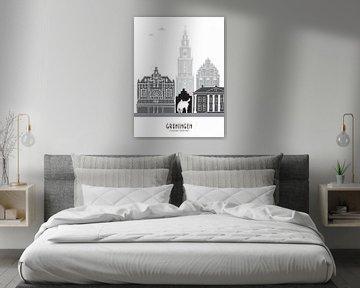 Skyline-Illustration Stadt Groningen schwarz-weiß-grau von Mevrouw Emmer