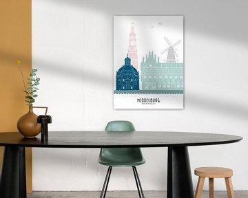 Skyline-Illustration Stadt Middelburg in Farbe von Mevrouw Emmer