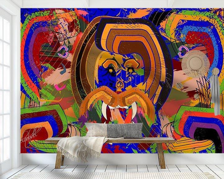 Sfeerimpressie behang: hoofd van de koning van de jungle van EL QOCH